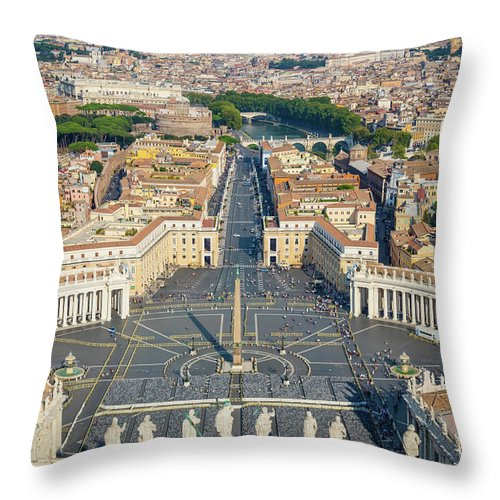 Catholic Throw Pillow featuring the photograph Piazza San Pietro by Inge Johnsson