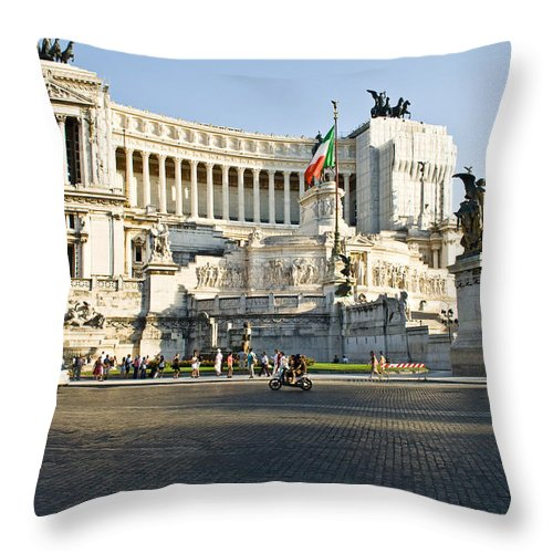 Square Throw Pillow featuring the photograph Piazza Venezia by Nelson Mineiro