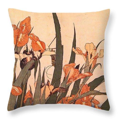 Shrub Throw Pillow featuring the digital art pic09600 Hokusai by Eloisa Mannion