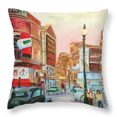 Cityscape Throw Pillow featuring the painting Picadilly by Ginger Concepcion