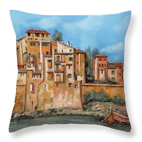 Piccole case sul fiume throw pillow for sale by guido borelli for Piccole case sul lago