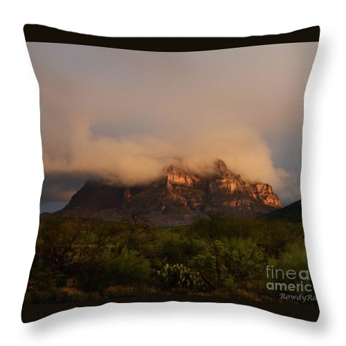 Mountain Throw Pillow featuring the photograph Picket Post Sun Ray Clouds by Katie Brown