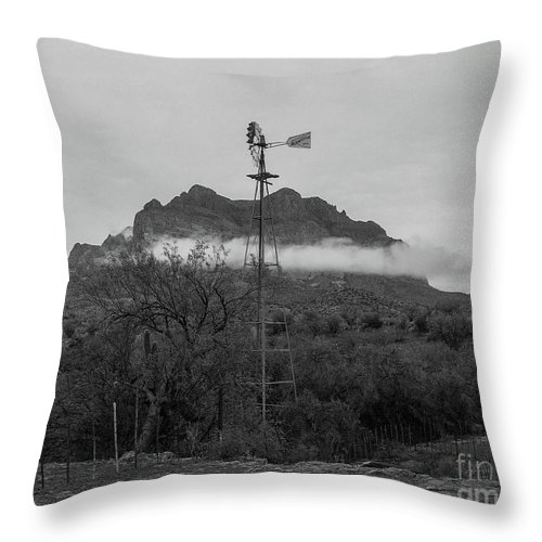 Windmill Throw Pillow featuring the photograph Picket Post Windmill Bw by Katie Brown