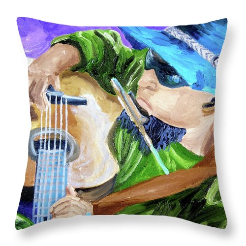 Guitar Player Paintings Paintings Throw Pillow featuring the painting Pickin N Harmony by Michael Lee