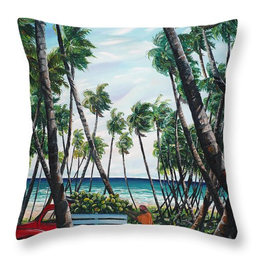 Beach Paintings Ocean Paintings  Caribbean Paintings Coconuts Paintings Tropical Paintings Truck Paintings Sea Paintings Trinidad And Tobago Paintings Tropical Paintings. Greeting Card Paintings Canvas Print Paintings Poster Paintings Throw Pillow featuring the painting Picking Coconuts .. Mayaro by Karin Dawn Kelshall- Best