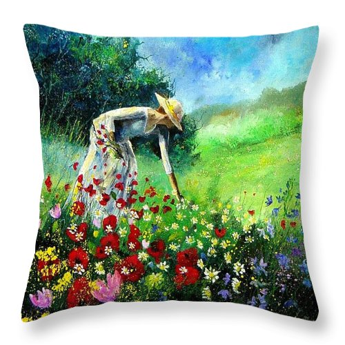 Poppies Throw Pillow featuring the painting Picking Flower by Pol Ledent
