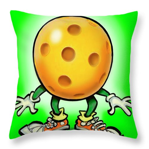 Pickleball Throw Pillow featuring the painting Pickleball by Kevin Middleton