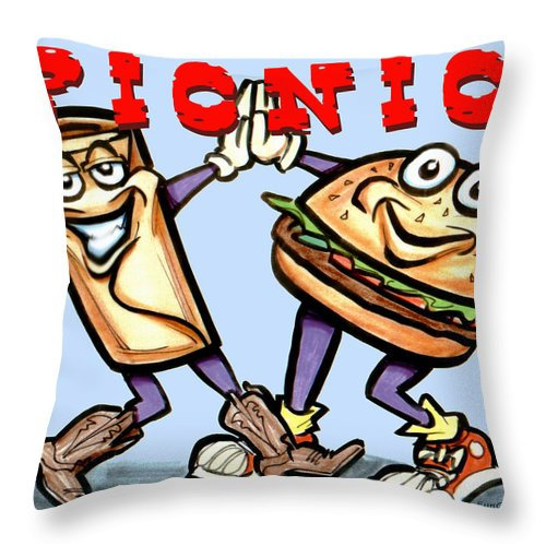 Picnic Throw Pillow featuring the greeting card Picnic by Kevin Middleton