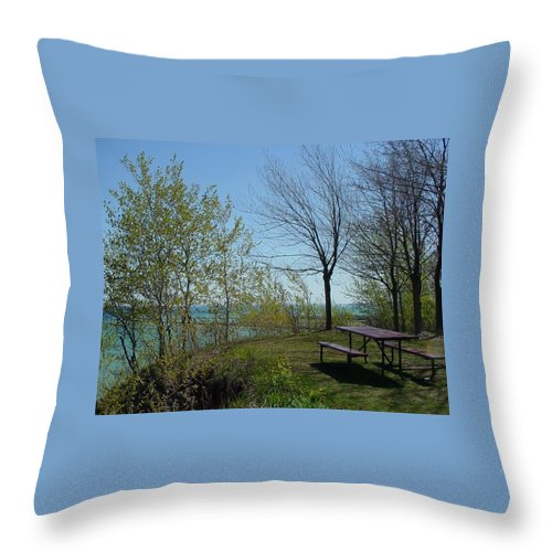 Lake View Throw Pillow featuring the photograph Picnic Table By The Lake Photo by Anita Burgermeister