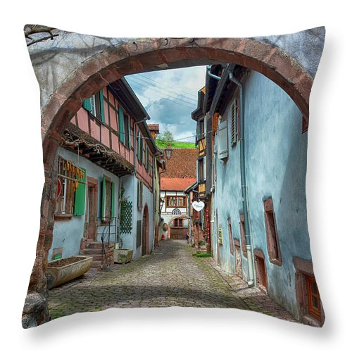 Alley Throw Pillow featuring the photograph picturesque Alsation Riquewihr by Joachim G Pinkawa