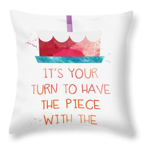 Birthday Throw Pillow featuring the mixed media Piece Of Cake- Card by Linda Woods