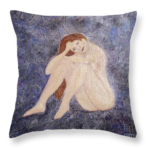 Depression Throw Pillow featuring the painting Pieces Of Me by Desiree Paquette