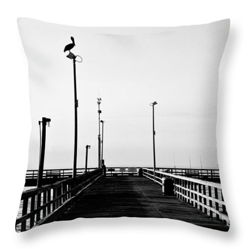 Bird Throw Pillow featuring the photograph Pier And Pelican by Marilyn Hunt
