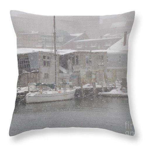 Sail Throw Pillow featuring the photograph Pier In Disrepair by Faith Harron Boudreau