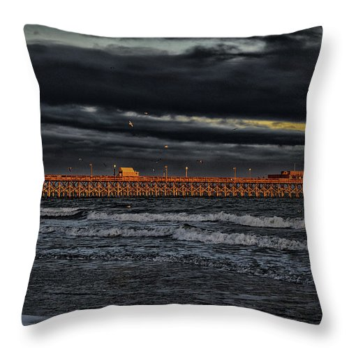 Atlantic Throw Pillow featuring the photograph Pier Into Darkness by Kelly Reber