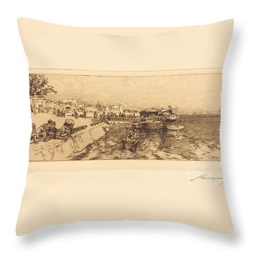 Throw Pillow featuring the drawing Pier Of Bercy (embarcadere, Quai De Bercy) by Auguste Lep?re