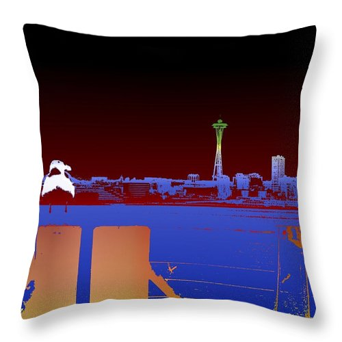 Seattle Throw Pillow featuring the digital art Pier With A View by Tim Allen