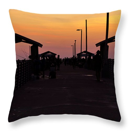 Fine Art Photography Throw Pillow featuring the photograph Pier Work Number Six by David Lee Thompson