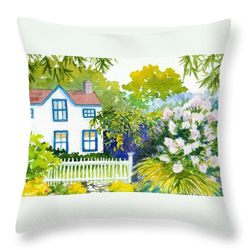 Piermont Throw Pillow featuring the painting Piermont by Anne Marie Brown