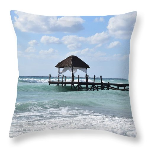Beach Throw Pillow featuring the photograph Piers By The Ocean by Christina McNee-Geiger