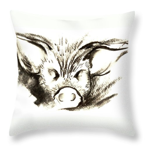 Animal Welfare Throw Pillow featuring the drawing Pig Headed by Mark Cawood