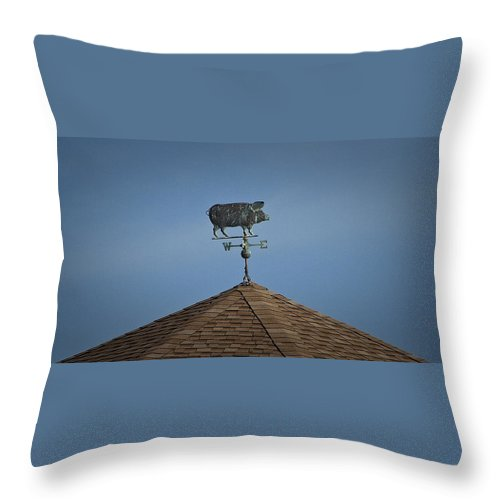 Pig Throw Pillow featuring the photograph Pig Weathervane Ocean Isle North Carolina by Teresa Mucha