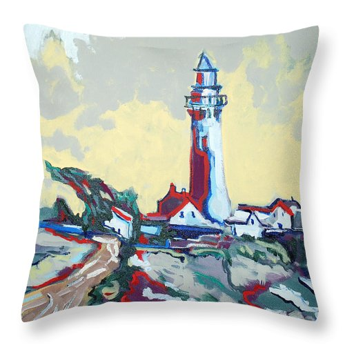 Ligthouse Throw Pillow featuring the painting Pigeon Point by Kurt Hausmann