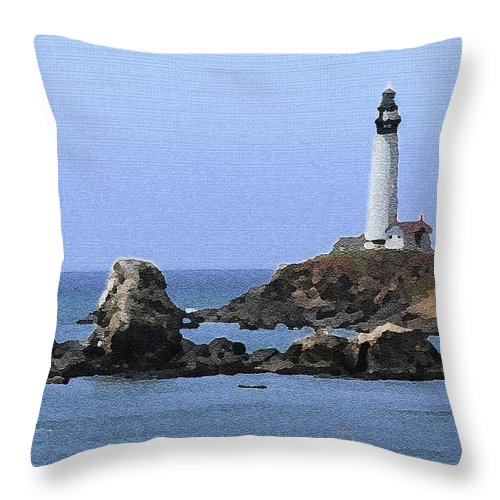 California Throw Pillow featuring the photograph Pigeon Point Lighthouse - Palette Knife by Lou Ford