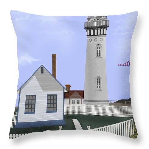 Lighthouse Throw Pillow featuring the painting Pigeon Point Lighthouse California by Anne Norskog