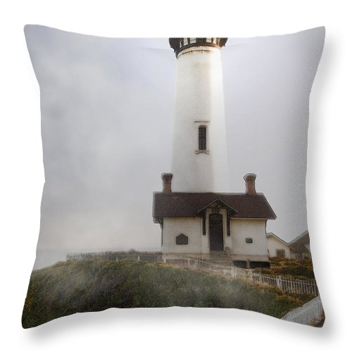 Ocean Throw Pillow featuring the photograph Pigeon Point Lighthouse by Karen W Meyer
