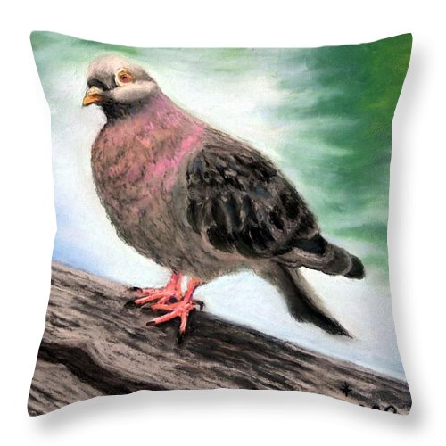 Pigeon Throw Pillow featuring the painting Pigeon Toes by Minaz Jantz