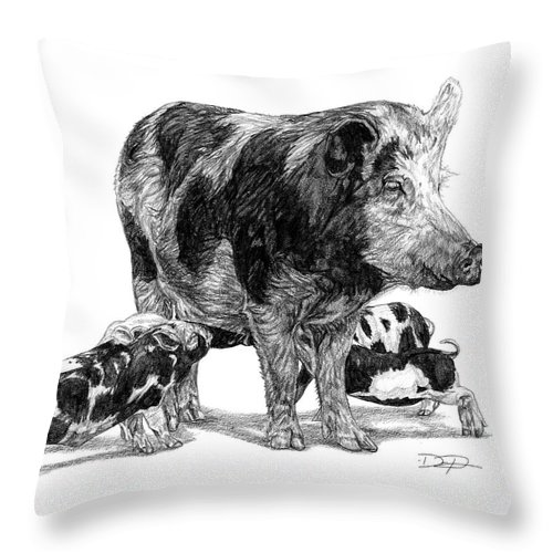 Pigs Throw Pillow featuring the drawing Pigs by Dan Pearce