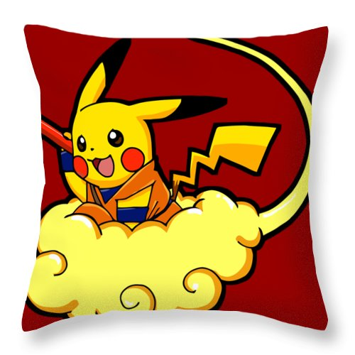 Fly Throw Pillow featuring the digital art Pikagoku by Billi Vhito