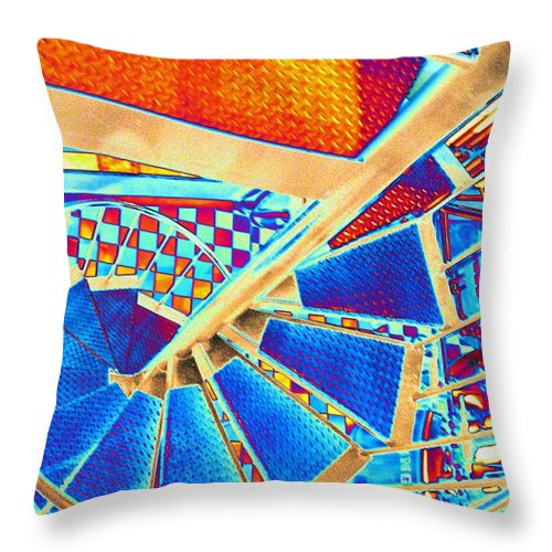 Seattle Throw Pillow featuring the digital art Pike Brewpub Stair by Tim Allen