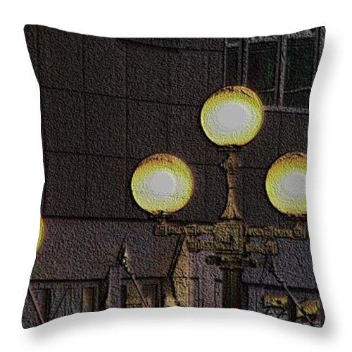 Seattle Throw Pillow featuring the digital art Pike Lights by Tim Allen