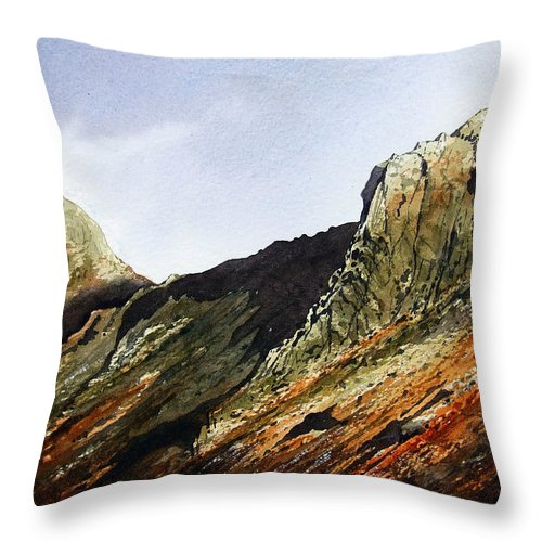 Mountain Throw Pillow featuring the painting Pike O' Stickle And Loft Crag by Paul Dene Marlor