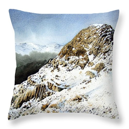 Pike O' Stickle Throw Pillow featuring the painting Pike O' Stickle by Paul Dene Marlor