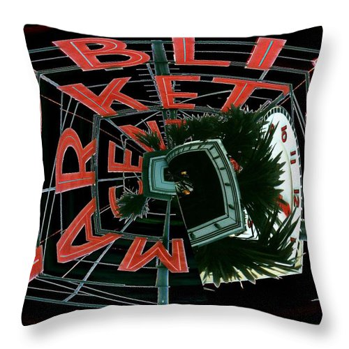 Seattle Throw Pillow featuring the digital art Pike Place Market Entrance 3 by Tim Allen