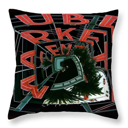 Seattle Throw Pillow featuring the digital art Pike Place Market Entrance 4 by Tim Allen