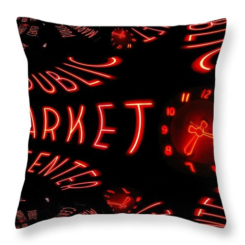 Seattle Throw Pillow featuring the digital art Pike Place Market Entrance 6 by Tim Allen