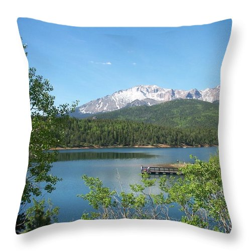 Colorado Throw Pillow featuring the photograph Pike's Peak by Anita Burgermeister