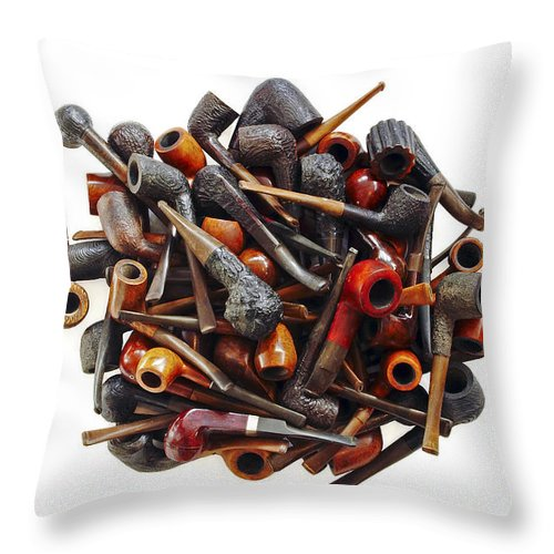 Smoking Pipe Throw Pillow featuring the photograph Pile Pipes by Michal Boubin