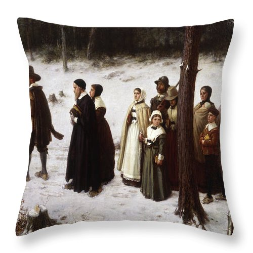 Puritan Throw Pillow featuring the painting Pilgrims Going To Church, 1867 by George Henry Boughton
