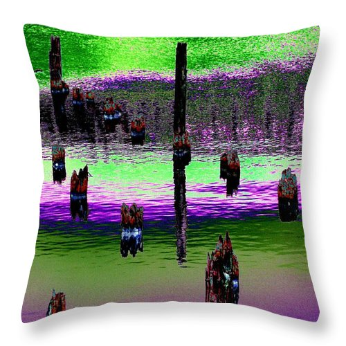 Pilings Throw Pillow featuring the photograph Pilings Of The Past by Tim Allen