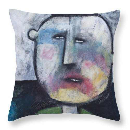 Funny Throw Pillow featuring the painting Pillbox by Tim Nyberg