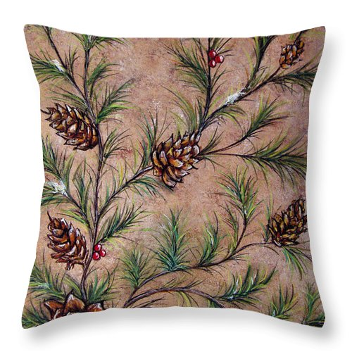 Acrylic Throw Pillow featuring the painting Pine Cones And Spruce Branches by Nancy Mueller