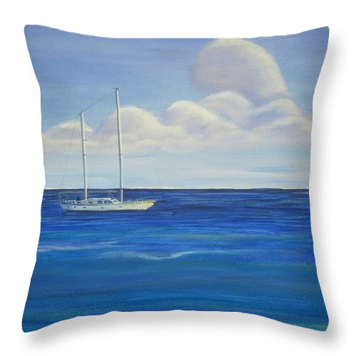 Sailboat Throw Pillow featuring the painting Pine Island Sailboat by Nancy Nuce