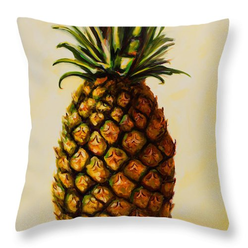 Pineapple Throw Pillow featuring the painting Pineapple Angel by Shannon Grissom
