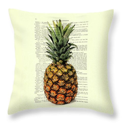 Pineapple Throw Pillow featuring the digital art Pineapple In Color Illustration by Madame Memento