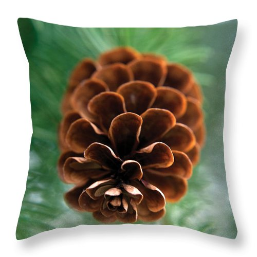 Nature Throw Pillow featuring the photograph Pinecone-4 by Steve Somerville